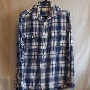 Blue & White Plaid Flannel Shirt
